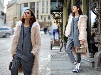 tina sizonova blogger jumpsuit fluffy fuzzy coat handbag
