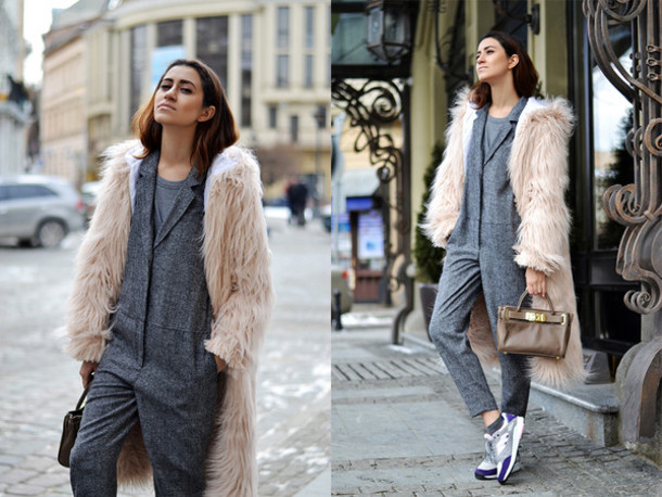 tina sizonova blogger jumpsuit fluffy fuzzy coat handbag coat shoes bag