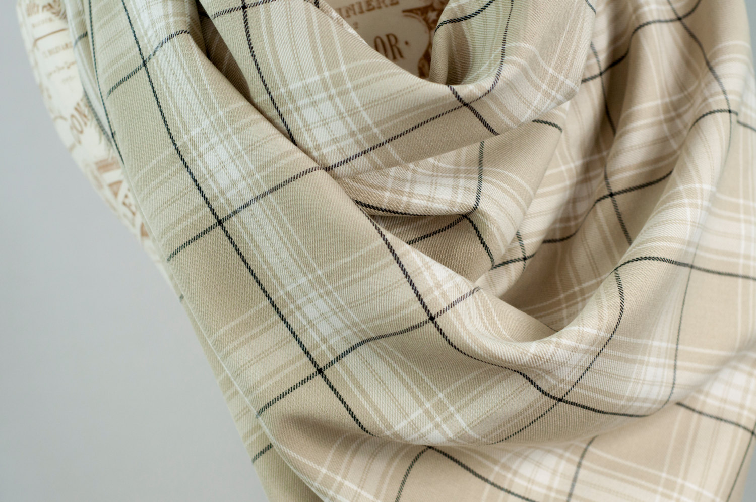 Plaid blanket scarf, tan beige oversized tartan wrap scarf, flannel woven cotton scarf, fashion cowl scarf, womens scarves, infinity scarf