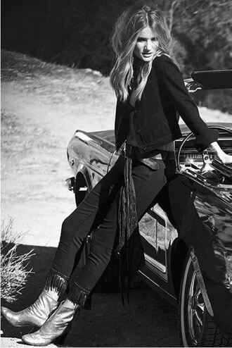 jacket spring jacket rosie huntington-whiteley model jeans black jeans all black everything