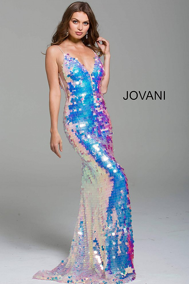 Jovani 59838 Pink long fitted iridescent pailettes plunging neck prom dress.