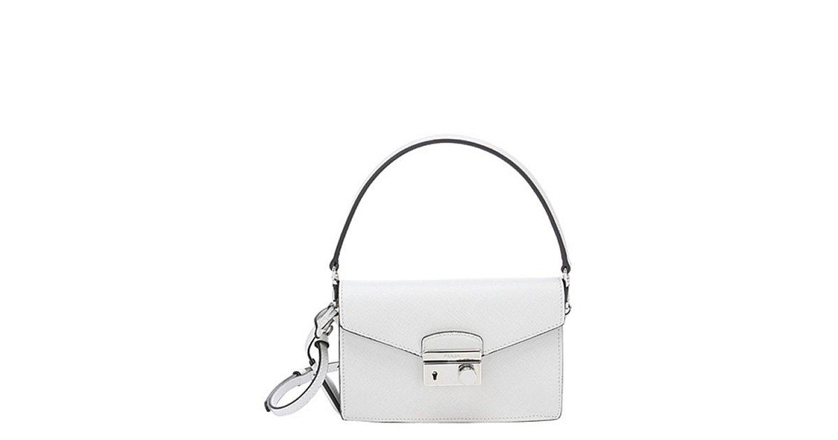 e3928d56 Prada white saffiano leather convertible mini shoulder bag | BLUEFLY