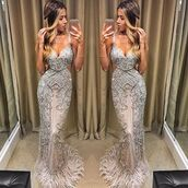 dress,terani,red carpet dress,silver dress,feather dress,prom dress,evening dress