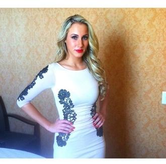 dress white white dress black lace classy beautiful gorgeous amazing love long sleeves long sleeve dress