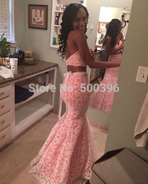 Aliexpress com buy two pieces lovely mermaid prom dresses 2016