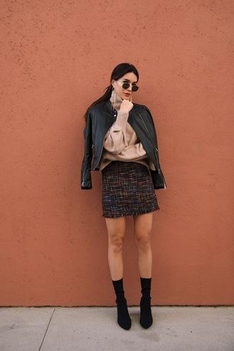 skirt nude blouse black jacket tumblr mini skirt blouse jacket leather jacket black leather jacket boots black boots sock boots sunglasses