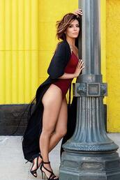 sandals,bodysuit,eva longoria,editorial,burgundy,top,shoes