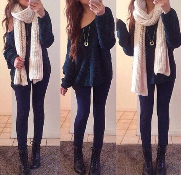 long knitwear blouse cardigan scarf sweater pants dark blue oversized sweater cute sweaters winter outfits winter sweater black girly t-shirt