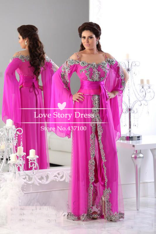 Aliexpress.com : Buy Elegant Hot Pink Spaghetti Strap Long Sleeves Lace Beads Kaftan Evening Dresses Long Arabic Evening Gowns Robe De Soiree from Reliable kaftan india suppliers on Suzhou LoveStoryDress Co. , Ltd