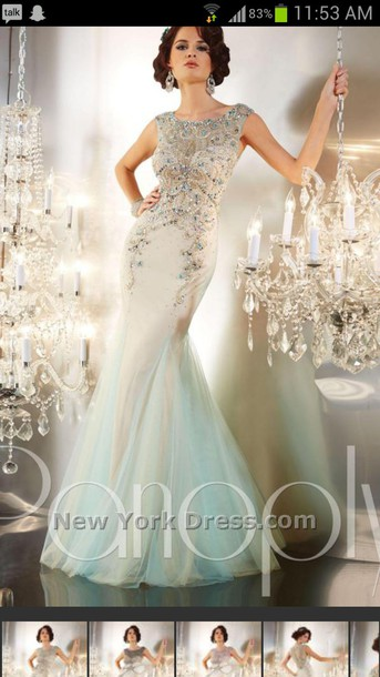 dress prom dress light blue pretty back jeweled