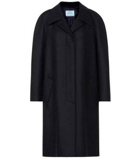 Prada Fur-trimmed wool coat in black