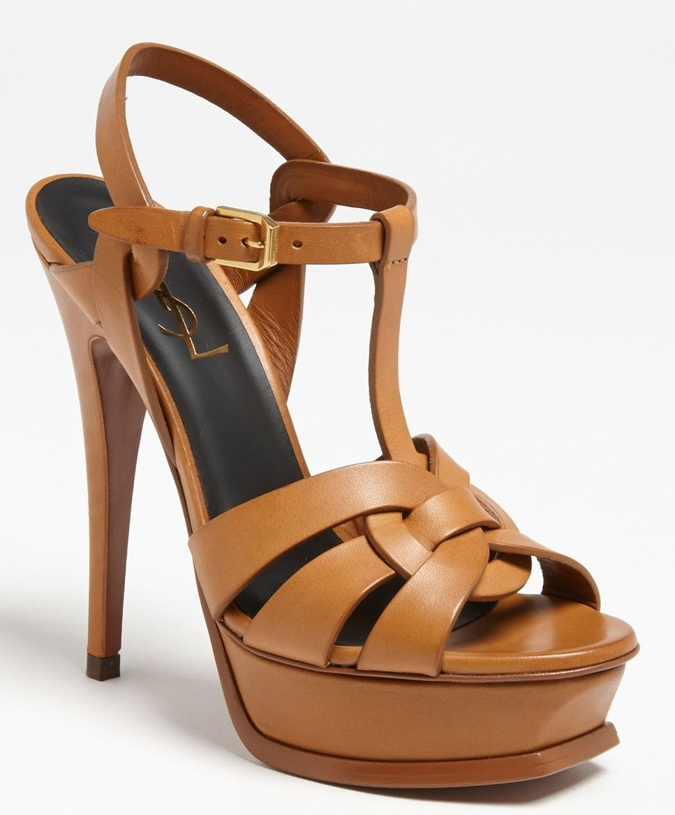 Yves Saint Laurent Tribute Sandal Brown Heels Strappy SZ 40.5/10.5Pumps $925 YSL | AnAuthentic