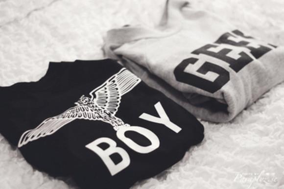 grey sweatshirt grey sweater boy london boy brand black sweater geek printing tumblr outfit black sweatshirt girly