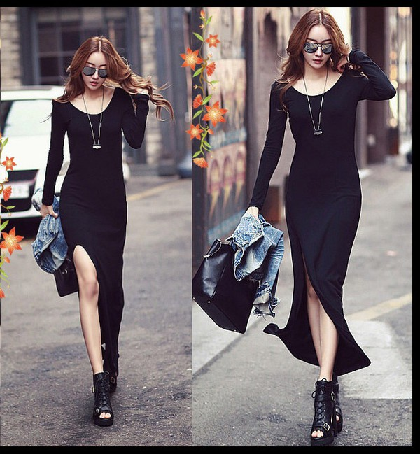 dress maxi dress korean fashion black dress korean style black