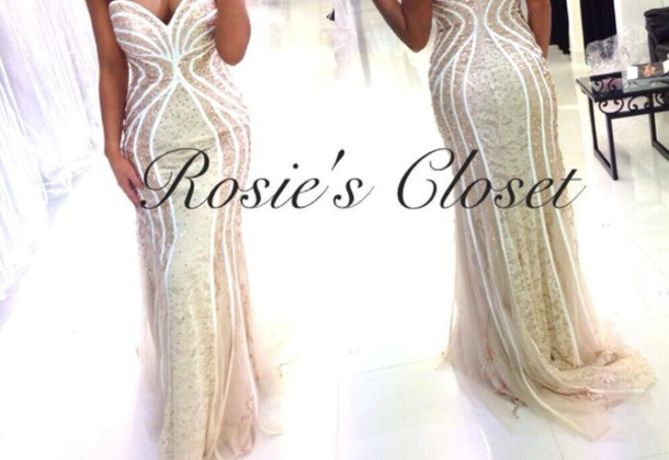 Dress Clothes Formal Formal Dress Champagne Gold Cream White Rosie Prom Debs
