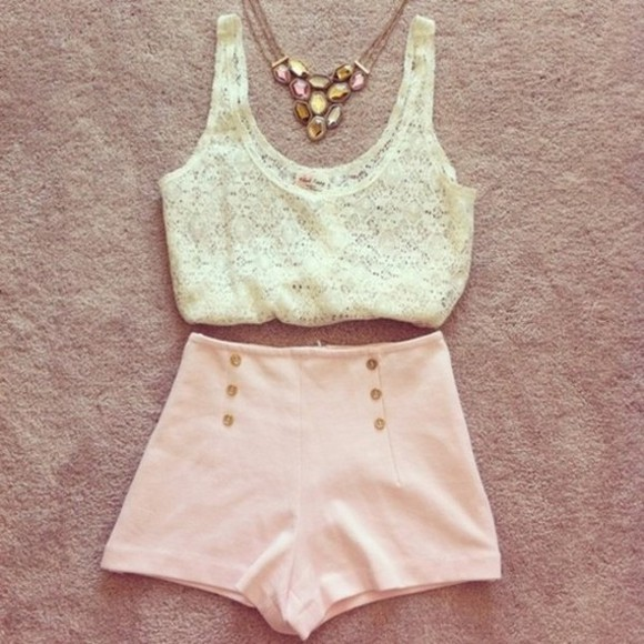 summer shorts high waisted shorts simple cute top cute outfit simple outfit lace pretty pink highwaisted shorts high waisted pink shorts pink high waisted shorts lace top outfit pretty outfit girly outfit summer 2014 summer outfit tank top