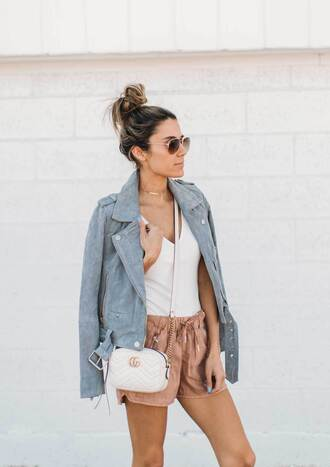 hello fashion blogger jacket shorts shoes gold necklace tumblr blue jacket suede jacket suede top white top nude shorts bag crossbody bag sunglasses spring outfits choker necklace gold choker necklace jewels jewelry gold jewelry