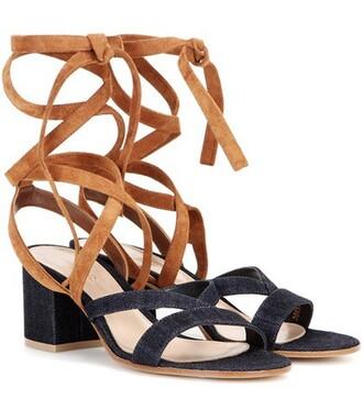 denim sandals suede blue shoes