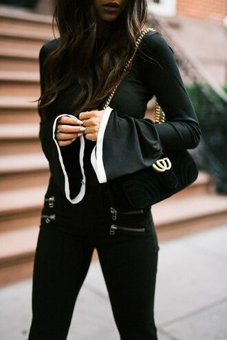 top tumblr black top bell sleeves bag black bag gucci gucci bag dionysus velvet