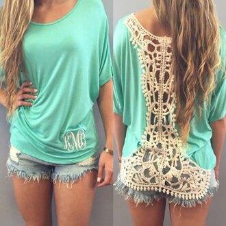 top aqua lace girly pretty