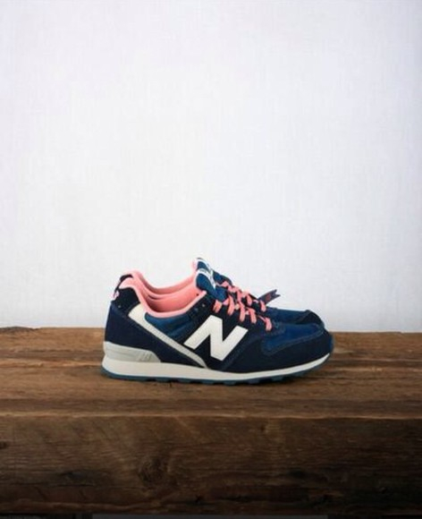 shoes sneakers basket bleu pink new balance