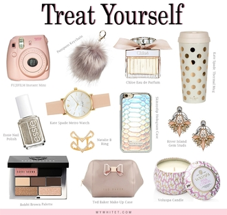 my white t blogger travel mug fur keychain statement earrings candle makeup palette holiday gift jewels keychain fur faux fur phone cover