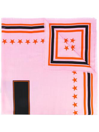 women scarf print silk wool purple pink