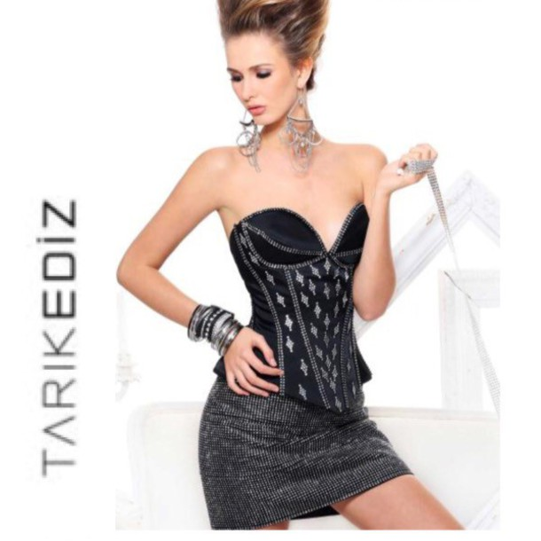 dress tarik ediz sexy dress sparkly dress short dress prom dress cocktail dress black dress corset top couture dress style