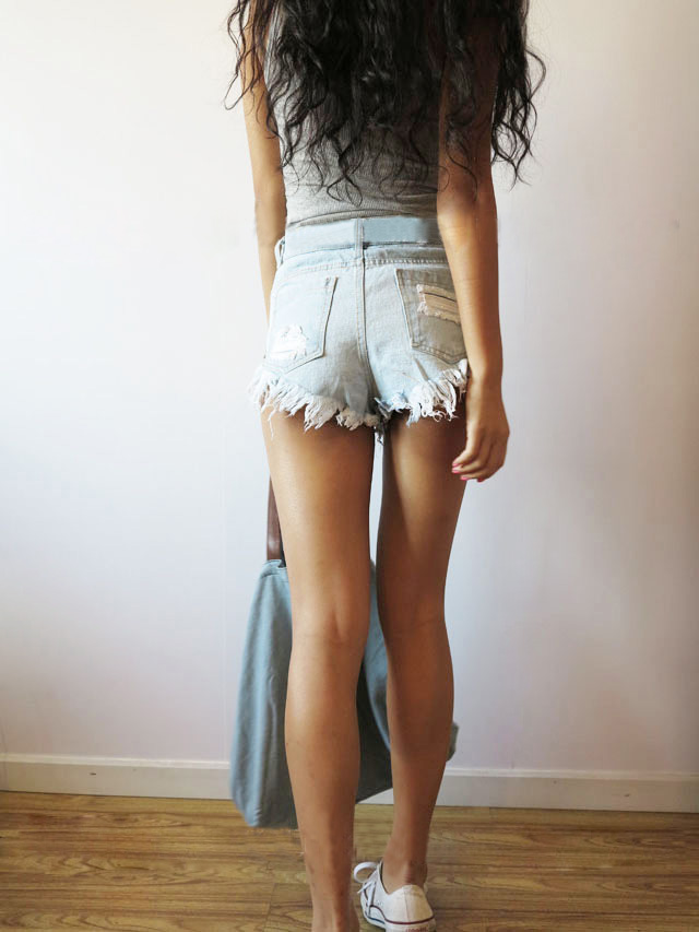 Light blue bleached ripped straight hot pants with rough selvedge