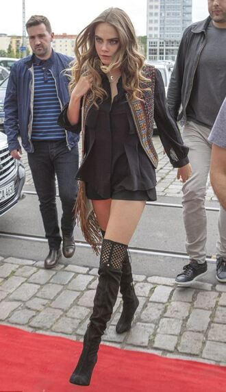 shoes knee high boots cara delevingne vest shorts jacket