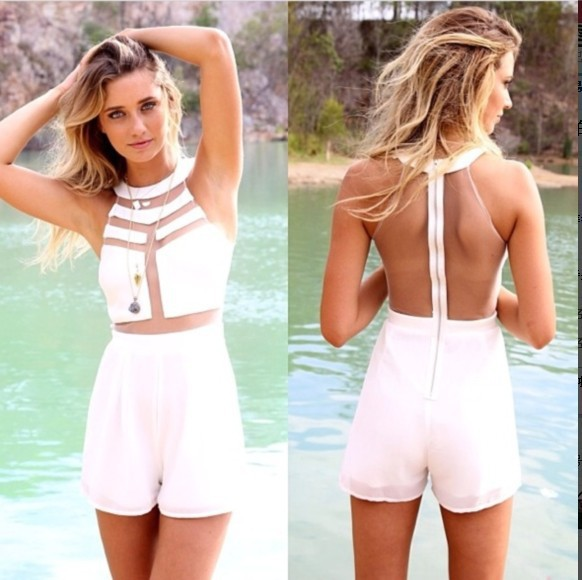2014 Real Freeshipping The New Summer Fashion Sleeveless And Round Collar Pure Color Women Slim Jumpsuits with Shortslw6587-in Jumpsuits & Rompers from Apparel & Accessories on Aliexpress.com