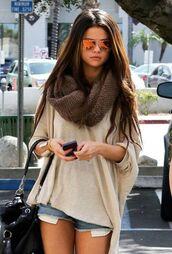 cardigan,selena gomez,blouse,sweatshirt,hoodie,scarf,sunglasses