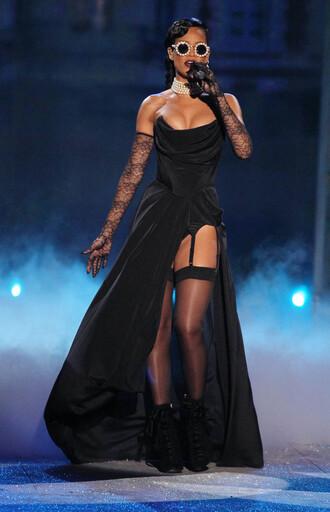 little black dress lingerie victoria's secret garter rihanna ? gown thigh slit dress slit