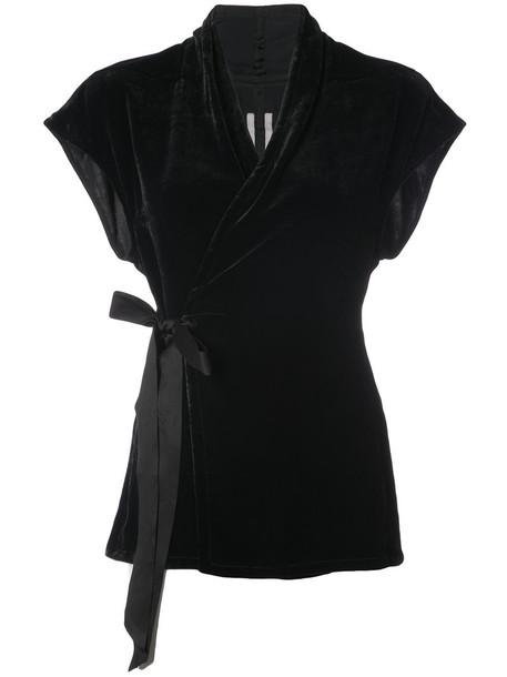 Rick Owens - belted wrap top - women - Silk/Viscose - 44, Black, Silk/Viscose
