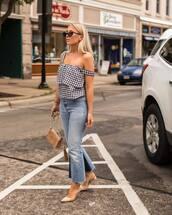 top,tumblr,gingham,denim,jeans,blue jeans,flare jeans,pumps,slingbacks,pointed toe pumps,high heel pumps,bag,nude bag,shoes