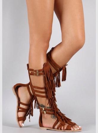 shoes sandals fringe sandals brown sandals flat gladiator sandals