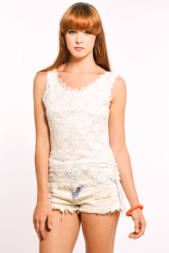 Femi Scallop Lace Vest in White - Pop Couture