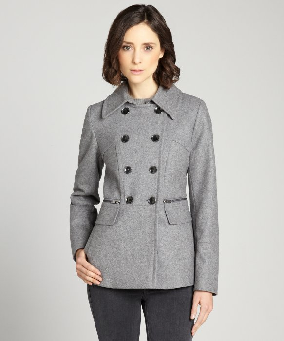 DKNY pale grey wool double breasted peacoat with zipper pockets | BLUEFLY up to 70% off designer brands
