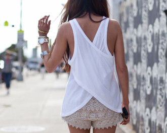 tumblr shorts tank top crochet shorts lace shorts zara shorts