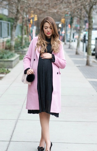 gumboot glam blogger dress bag shoes coat maternity dress pink coat maternity high heel pumps winter outfits