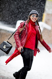 jacket,tumblr,nyfw 2017,fashion week 2017,fashion week,streetstyle,red jacket,leather jacket,coat,red coat,top,red top,turtleneck,pants,black pants,leather pants,black leather pants,bag,black bag,beanie