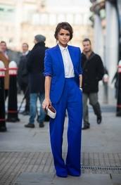 jacket,cobalt blue,blazer,oversized blazer,pants,suit,miroslava duma,wide-leg pants,celebrity style,blouse,tailoring,long pants,high waisted pants