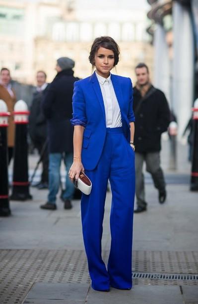 bfab6cb9cee4c jacket cobalt blue blazer oversized blazer pants suit miroslava duma wide- leg pants celebrity style