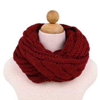 Premium Winter Twist Knit Warm Infinity Circle Scarf, Burgundy at Amazon Women's Clothing store: Cold Weather Scarves