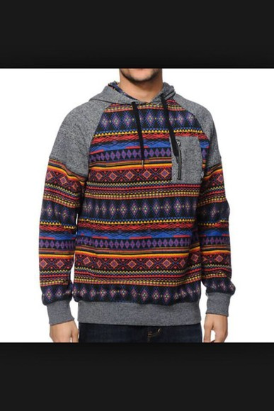 aztec jacket mens hoodie, hoodie colorful patterns tribal pattern grey hoodie menswear swimwear sweater aztec hoodie