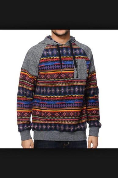 aztec colorful patterns jacket mens hoodie hoodie tribal pattern grey hoodie menswear swimwear sweater aztec hoodie