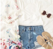 blouse,outfit,spring outfits,flowers,top,shoes,sunglasses,shorts,cardigan