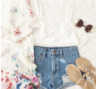 blouse outfit spring outfits flowers top shoes sunglasses shorts cardigan