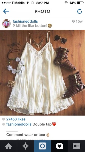 dress boho chic boho dress white dress concert festival festival dress shoes fashion summer dress summer shoes jewels earrings clear clear earrings jewelry
