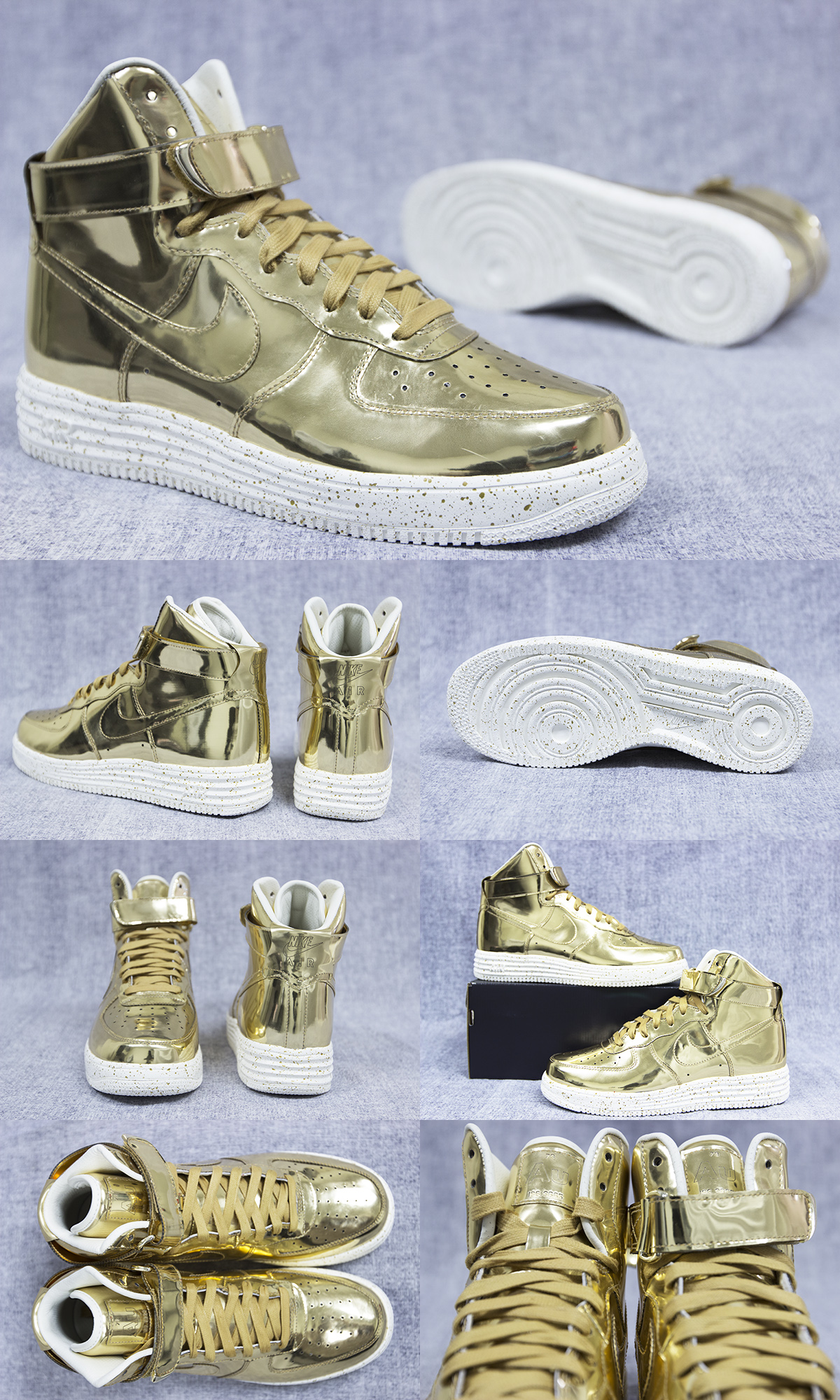 Nike Lunar Force 1 Hi SP 652845 770 Metallic Gold High New DS Sz 8 5 9 9 5 | eBay